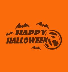 Happy halloween logo design orange greeting card vector