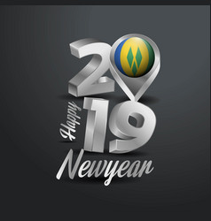 Happy new year 2019 grey typography with saint vector