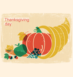 happy thanksgiving day vintage poster with vector image