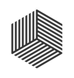 hexagon geometric stripe cube tile logo vector image