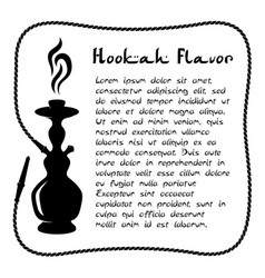 Hookah silhouette with pipe as sqaure frame vector
