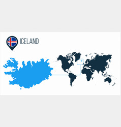 Iceland map located on a world map with flag and vector