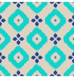 Ikat geometric seamless pattern Turquoise vector