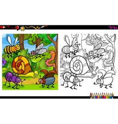 Insect characters coloring page vector