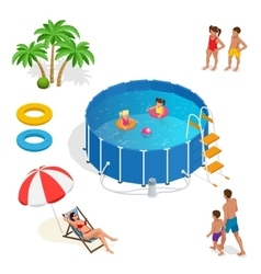 Isometric Portable plastic swimming pool and vector