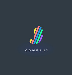 j letter logo with colorful lines design rainbow vector image