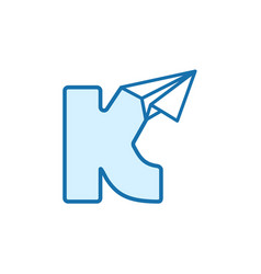 Letter k with paper plane icon vector