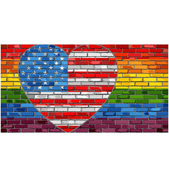 lgbt flag on a brick wall with the usa heart vector image
