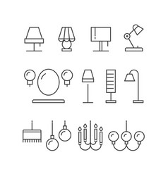 Lighting icons collection - lamps floor lamps vector