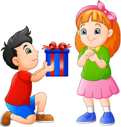 little boy gives gift to girl vector image