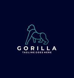 Logo gorilla line art style vector