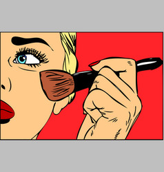 Make-up brush in hand pop art retro vector