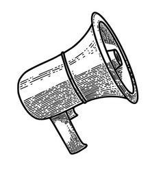megaphone in engraving style design element for vector image