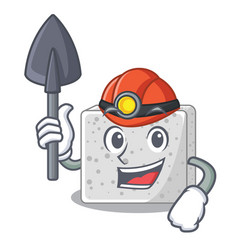 Miner feta cheese block on plate cartoon vector