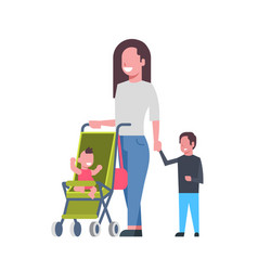 mother with new born baby children in stroller vector image