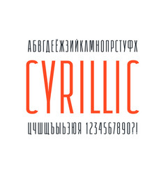 narrow sans serif font cyrillic alphabet vector image