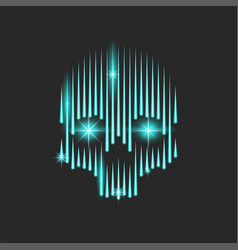 neon bright human skull with blue sparks in the vector image