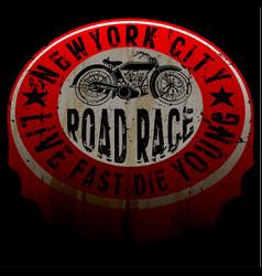 new york motorcycle tee print design vector image