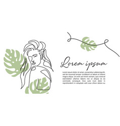 one line art woman with beautiful hair and vector image