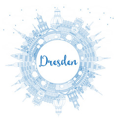 outline dresden germany city skyline with blue vector image