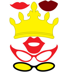 party accessories set - glasses crown lips vector image