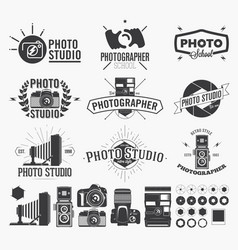photography and photo studio logo classic camera vector image