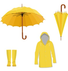 Raincoat boots umbrella vector
