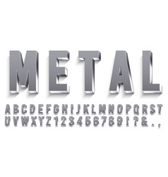 realistic metal font shiny metallic letters vector image