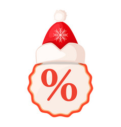 round tang with percent sign inside and santa hat vector image
