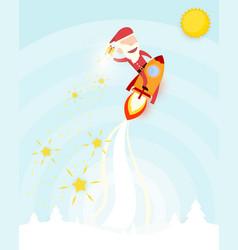 santa claus drive rocket launch and smoke through vector image