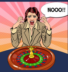 screaming woman behind roulette table vector image vector image