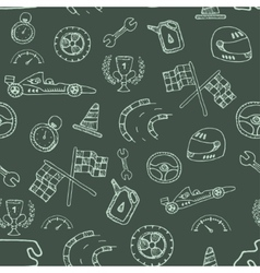 Seamless pattern racing element in a drawing style vector image