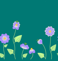seamless pattern with summer flowers in green vector image