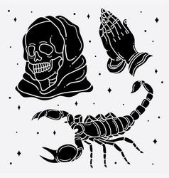Set flash tattoo horror vector