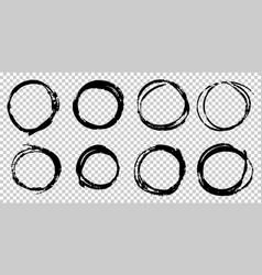 set hand drawn doodle circle line sketch vector image