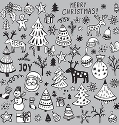 set hand drawn sketchy christmas elements vector image