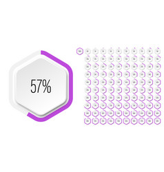 set hexagon percentage diagrams from 0 to 100 vector image
