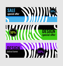 set horizontal color banners with white stripes on vector image