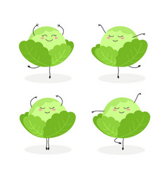 Set of funny cartoon cabbages ballerinas vector