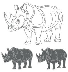 Set of images with a rhinoceros vector