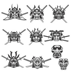 Set of samurai masks and helmets with swords on vector
