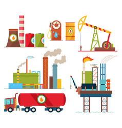 set oil industry extraction production and vector image