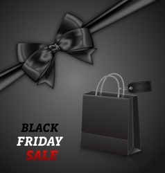 Shopping Paper Bag for Black Friday Sales and Bow vector image