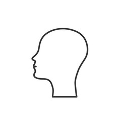 Silhouette of the head and face bald man icon flat vector