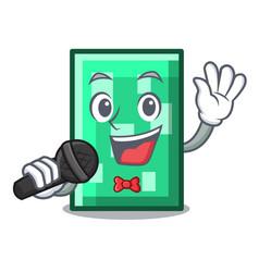 Singing rectangle mascot cartoon style vector