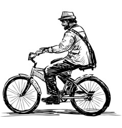 Sketch bearded man in hat riding a bicycle vector