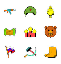 Soviet union icons set cartoon style vector