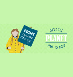 Stop climate change banner protest kid vector