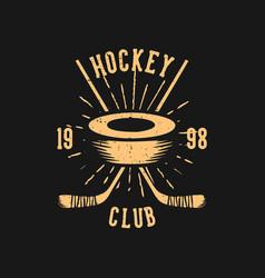 t shirt design hockey club 1998 with hockey puck vector image