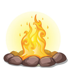 The fire surrounded with stones isolated on a vector